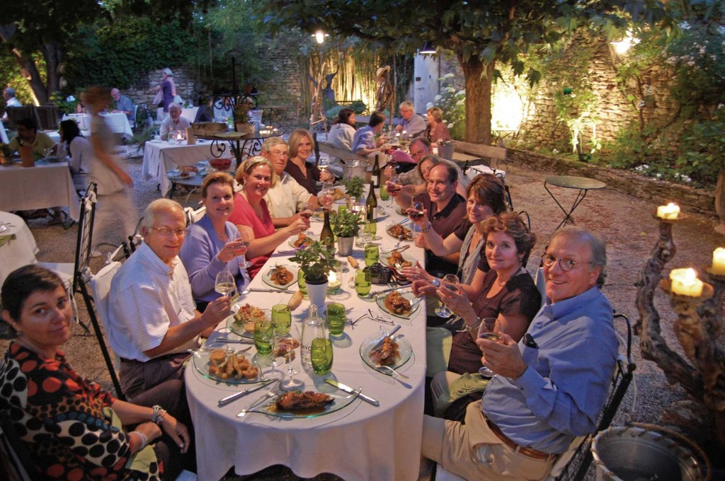 Dinner on our Provence bicycle tour